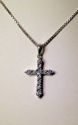 """Small Sparkling Sterling Silver .11TCW Diamond Cross Pendant Necklace 14"""" - 6213"""