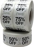 White Percent Off Stickers Three Pack