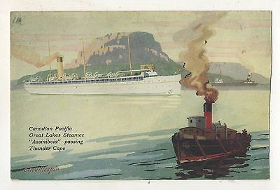 Canadian Pacific Great Lakes Steamer Steamship ASSINIBOIA Thunder Cape Postcard