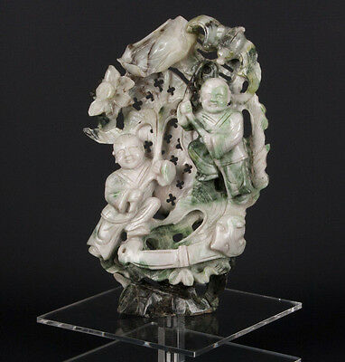 China 20. Jh. Figur A Chinese Carved Hardstone / Jade Group Giada Cinese Chinois