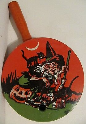 Vintage Tin Litho Halloween Noisemaker Witch Black Cats Pumpkin US Metal Toy