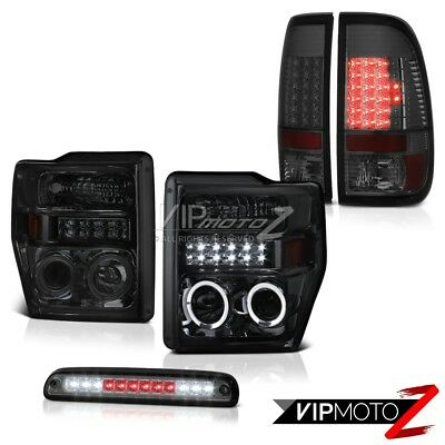 2008-2010 Ford F250 Projector Smoke Headlights Tail Lights LED Tinted Roof Brake