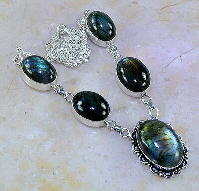 Stunning Top Quality Huge 25X15Mm Genuine Labradorite 925 Silver Necklace 18""