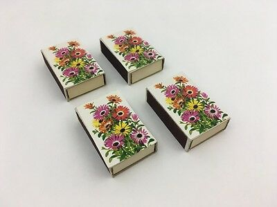 Vintage Set Of 4 Mod Pop Floral Pattern Match Box With Brown Tip Matches Denmark