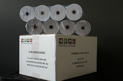 Thermal Paper Roll 44x76x12mm Carton of 48Rolls EFTPOS,Cash Registers,Receipt