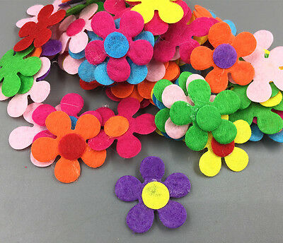 100Pcs Flowers shape Felt Appliques Mixed Colors Die Cut Cardmaking Crafts