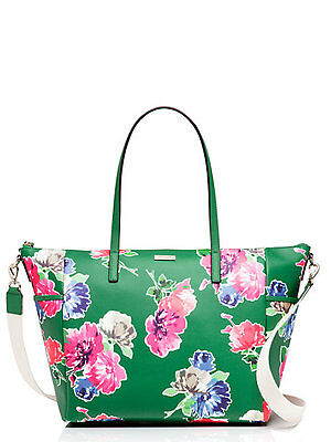 NWT KATE SPADE New York Flowers Grant Street Adaira Green Baby Diaper Bag Tote
