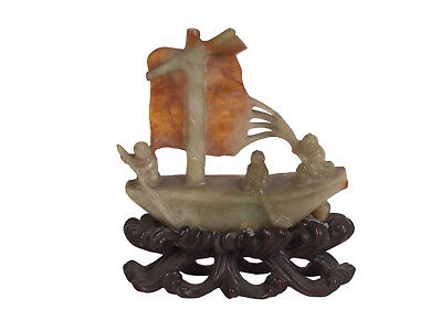 China 20. Jh. Figur -A Chinese Jade Sampan - Giada Cinese Statuette Chinois Qing