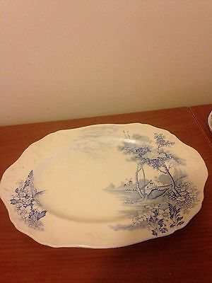 MeakinRiverdale  blue and white oval platter England