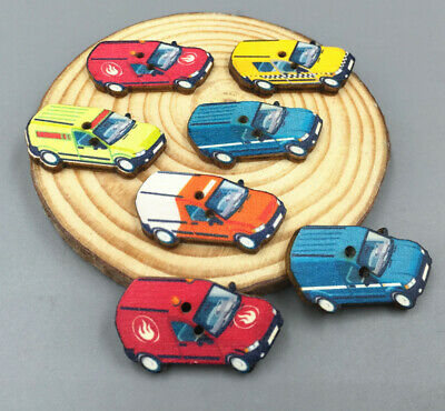 Mixed Colors car Buttons 2-Holes Wooden Fit Sewing Scrapbooking 33mm DIY