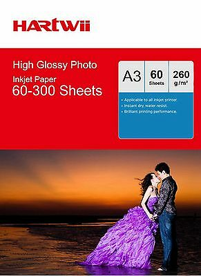 Hartwii A3 ( 420x 297mm) 260Gsm High Glossy Photo Paper Inkjet Paper Printing AU