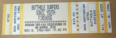 1986 SONIC YOUTH BUTTHOLE SURFERS fIREHOSE CONCERT TICKET MIKE WATT MINUTEMEN