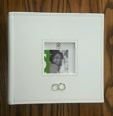 White faux leather wedding / engagement photo album w rings NICE GIFT rrp $34.95