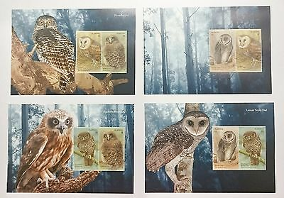 Owls Minisheets Set 2 2016 8 x $1 Australian Stamps MNH