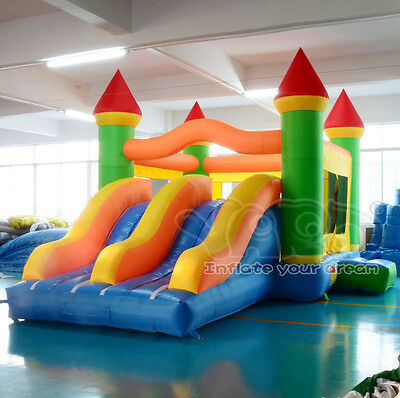 Inflatable bouncy castle bounce house with dual slides for kids