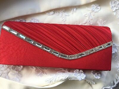 Red Evening Clutch Bag Wedding Ladies Race Day Accessories