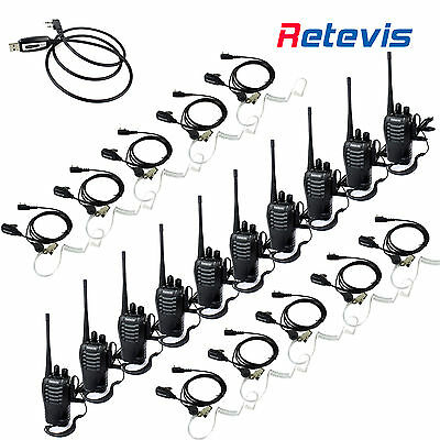 10x Retevis H777 Walkie Talkie Two Way Radio Interphone 1000mAh+USB+10x Headsets