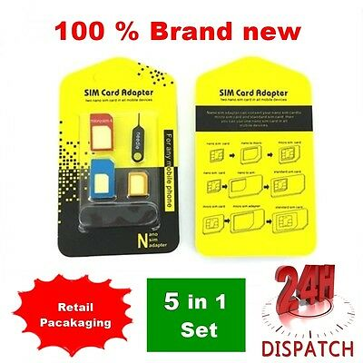 5 In 1 Nano To Micro & Standard Sim Card Adapter For Various Mobile Phones