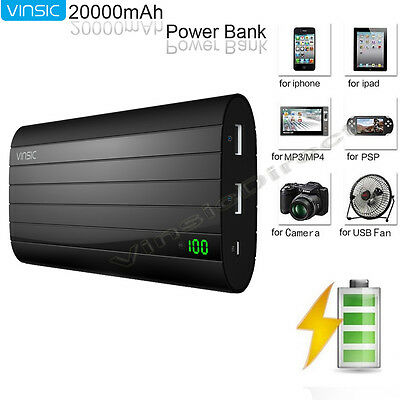 External 20000mAh Portable Battery Charger Pack USB Power Bank for Mobile Phone