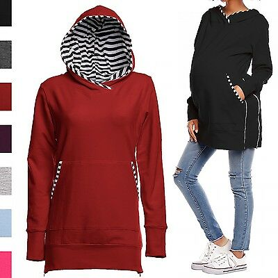 Happy Mama. Women's Maternity Sweatshirt Adjustable Zippers Pregnancy Hood. 315p