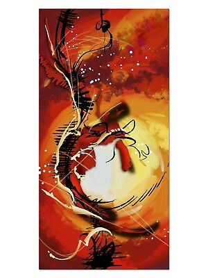 HD GlasBild, Wandbilder XL 50 x 100 cm, EG4100501678 KUNST ABSTRAKT ORANGE