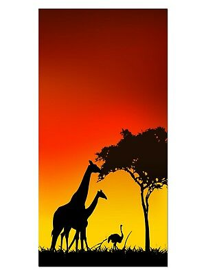 HD GlasBild, Wandbilder XL 50 x 100 cm, EG4100502164 AFRIKA SAFARI ORANGE LANDSC