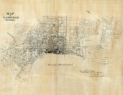 1860 Map of Nashville Tennessee LARGE 28 x 36