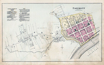 1886 Map of Fairmont Marion County West Virginia