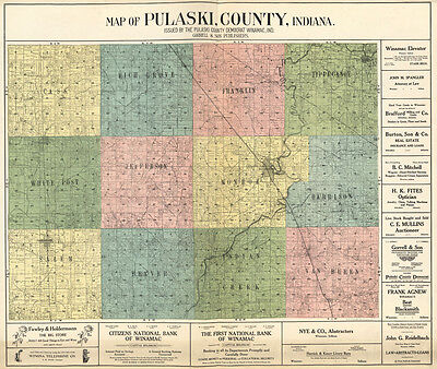 1907 Farm Line Map of Pulaski County Indiana Winamac