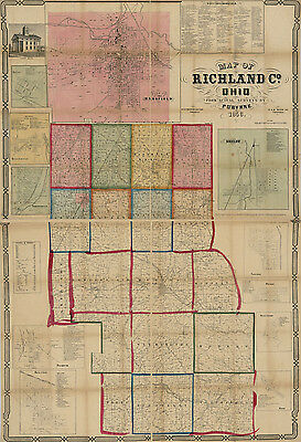 1856 Farm Line Map of Richland County Ohio Shelby Bell Ville