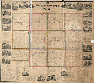 1860 Farm Line Map of Noble County Indiana