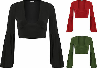 Womens V Neck Crop Party Top Ladies Flared Long Bell Sleeve Plain Stretch 6-14