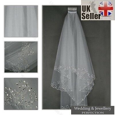 White Ivory 2t Bridal Wedding Veil with Comb, Elbow length, Beaded Edge, Sequins