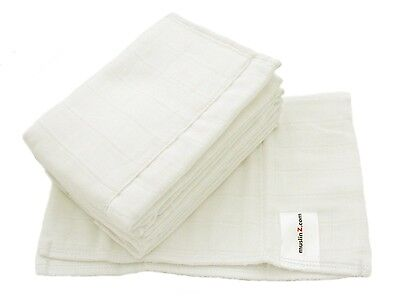 MuslinZ 6 pack Size 1 Prefold Nappies White (Newborn). Shipping is Free