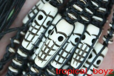 10 Tiki Ghost Skull Handmade White Bone Friendship Black Bracelets Wholesale