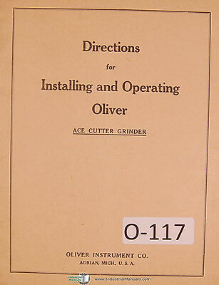 """Oliver """"ACE"""" Universal Tool & Cutter Grinder Instruction for Operations Manual"""