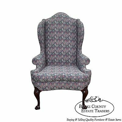 Solid Mahogany Queen Anne Style Wing Chair by Southwood