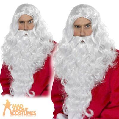 Santa Long Wig and Beard Adult Magician Wizard Fancy Dress Costume Accessory
