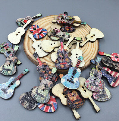 DIY  Mixed Color Guitar Handmade Wooden Button Decoration Sewing Scrapbook 36mm