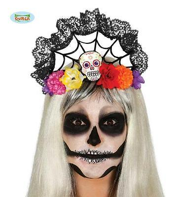 Diadema Teschio Messicano c/ fiori Cerchietto Donna Bambina Halloween Accessori