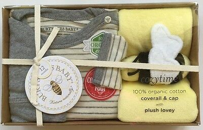 Burt's Bees Baby 100% Organic Cotton Gift Set Cozytime Coverall Cap Lovey 12M