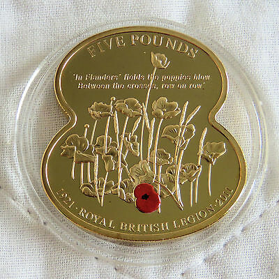 GUERNSEY 2011 ROYAL BRITISH LEGION GOLD PLATED PROOF £5 POPPY CROWN b