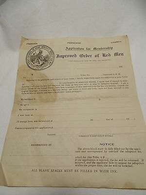 Antique Improved Order of the Red Man Application for Membership Blank