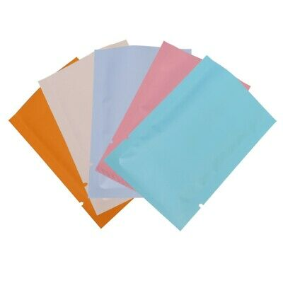 100 PCS Pastel Matte Flat Foil Mylar Open Top Bags with a Variety of Colors