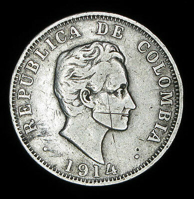 Colombia 1914 50 Centimos silver
