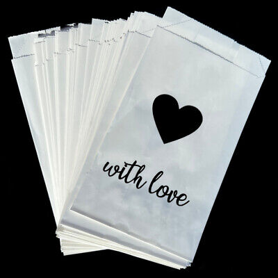 New 50 x Wedding Cake Bags Silver or Gold Hearts White Decoration Supplies