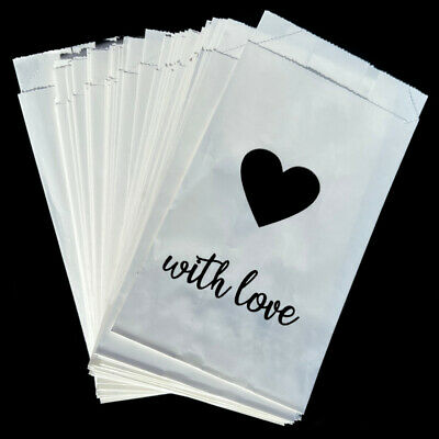 Wedding Cake Bags x 50 Silver Gold Hearts White Decoration Supplies