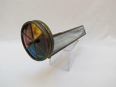 Handmade Stained Glass And Dried Flower Kaleidoscope Signed Faye Miller 1984