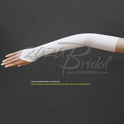 Stretch Dull Matte Satin Fingerless Gloves Opera Length/No Shine, Elegant Look