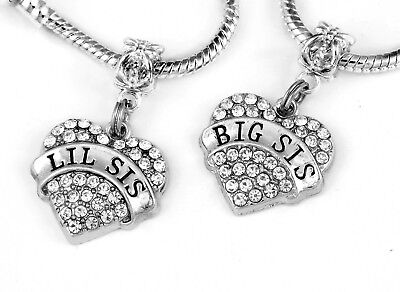 Lil sis big sis charm set best jewelry gift sisters sister European style gift